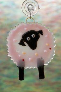 glass suncatcher pink sheep 2