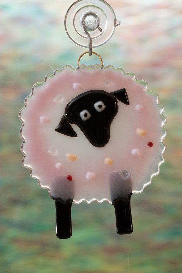 glass suncatcher pink sheep