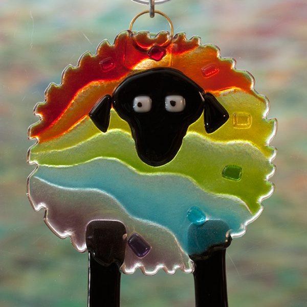 fused glass rainbow sheep suncatcher