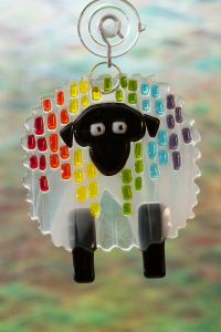 glass suncatcher rainbow streaker sheep 1