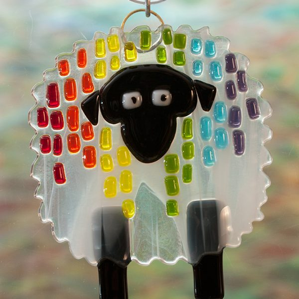 glass suncatcher rainbow streaker sheep