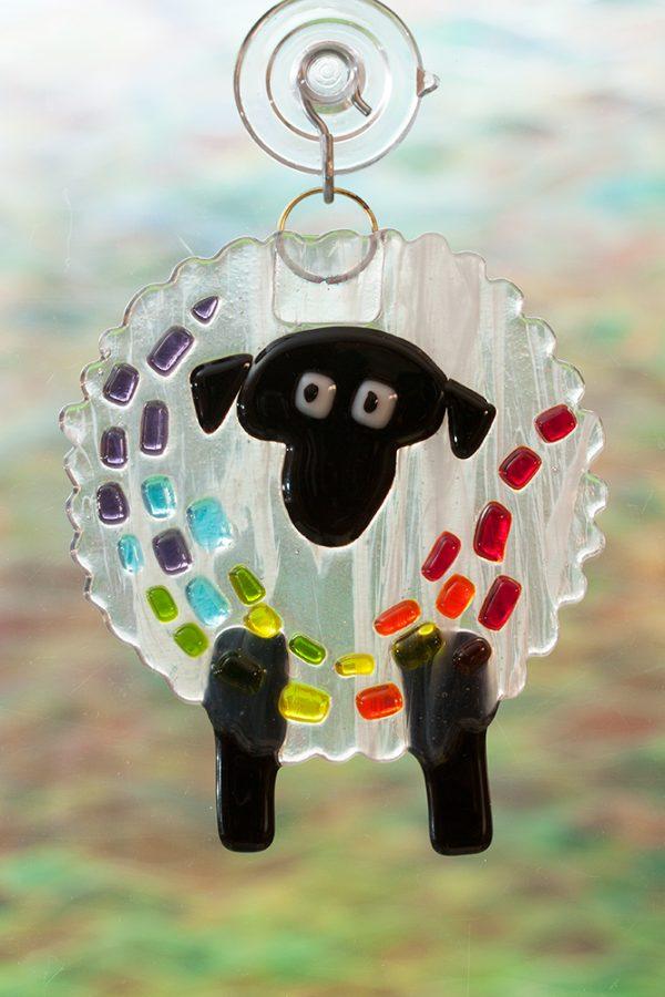 fused glass suncatcher rainbow streaker sheep