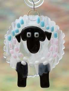 fused glass streaker sheep suncatcher
