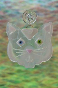 glass white cat suncatcher 2