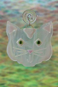glass white cat suncatcher 3