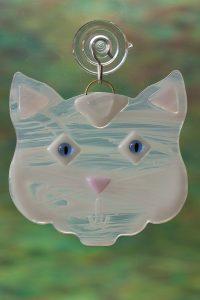 glass white cat suncatcher