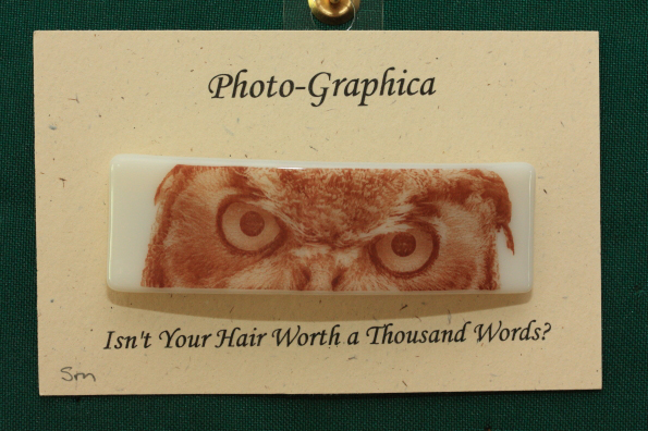 fused glass barrette owl eyes Photo-Graphica