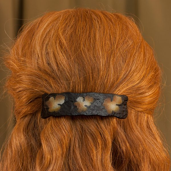 fused glass hair clip paleo-glassic brown mulberry