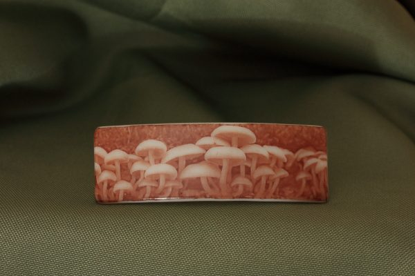 glass barrette photo-graphica mushrooms
