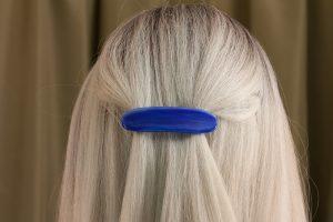 glass hair clip scraps dark blue