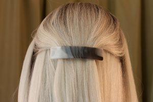 fused glass hair clip scraps smoke