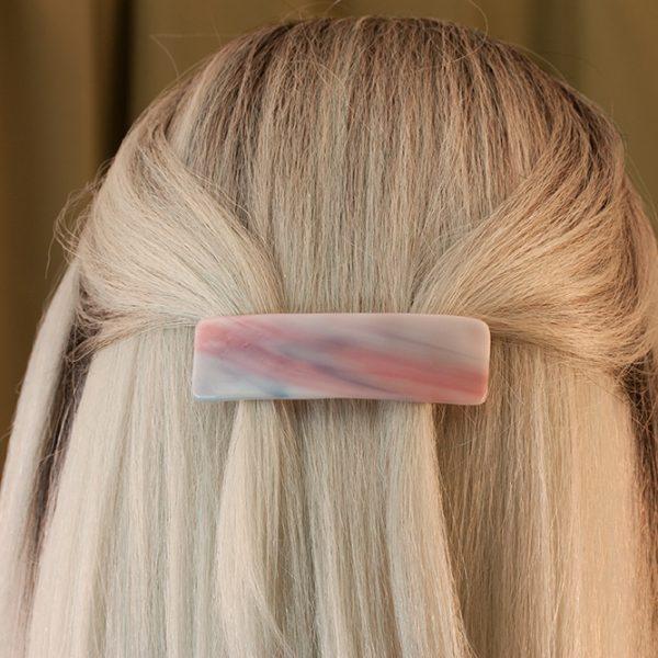 fused glass hair clip scraps sunrise