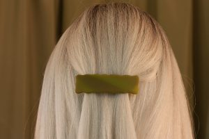 fused glass hair clip weathered green