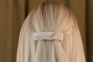 glass hair clip weathered white streaky