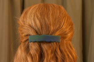 fused glass hair clip weathered blue green