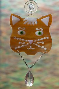 glass suncatcher green eye amber cat with crystal
