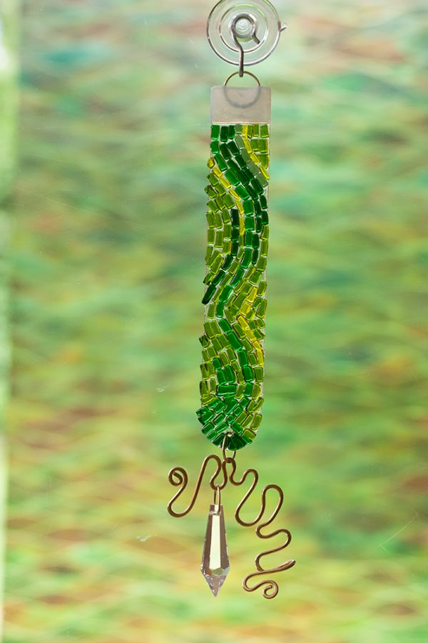 fused glass suncatcher green color rod with crystal and brass wire