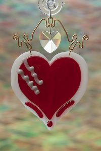 glass suncatcher red heart with crystal and brass wire