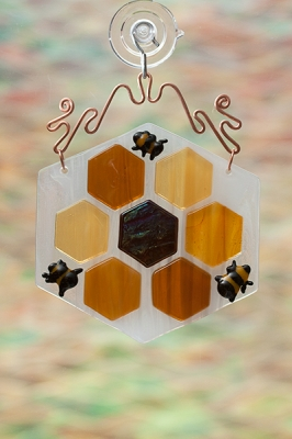 handmade glass honeycomb suncatcher bees copper wire
