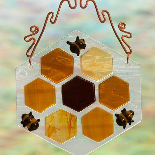 glass suncatcher honeycomb bees