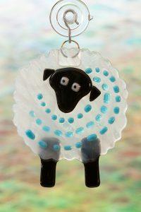 glass suncatcher blue streaker sheep 2