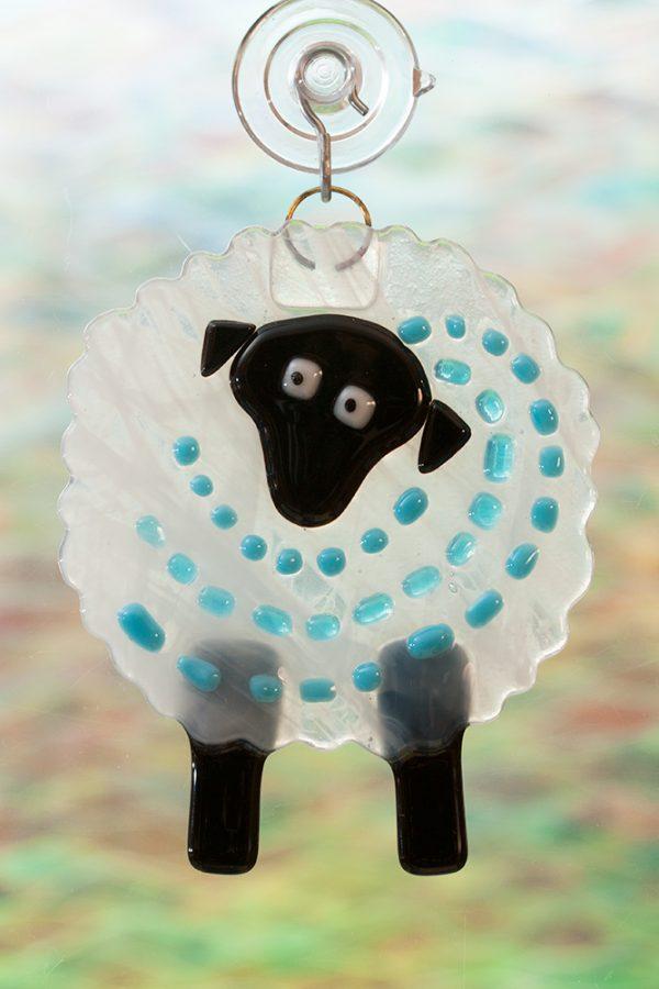 glass suncatcher blue streaker sheep