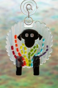 glass suncatcher rainbow streaker sheep 3