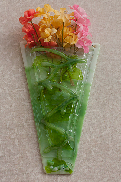 glass wall vase green