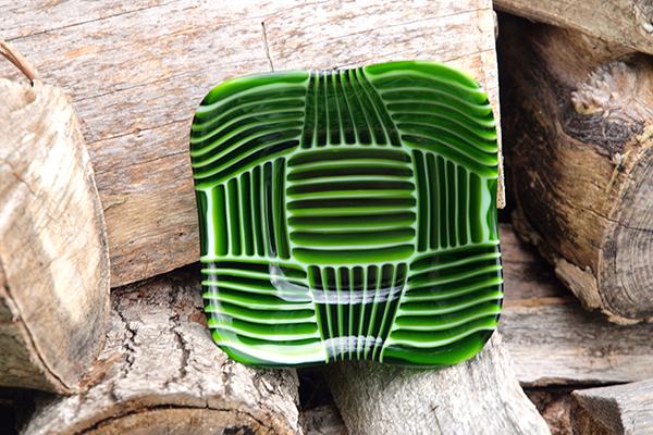glass green geometrica retro bowl